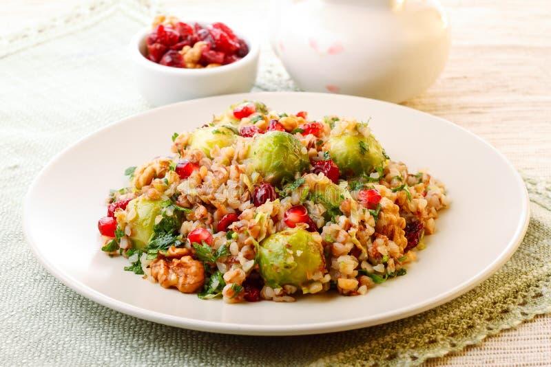 Warm buckwheat salad royalty free stock images