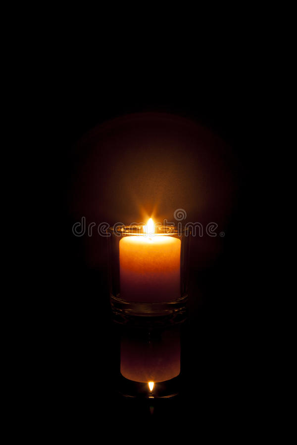 Warm Candle Reflection stock photography