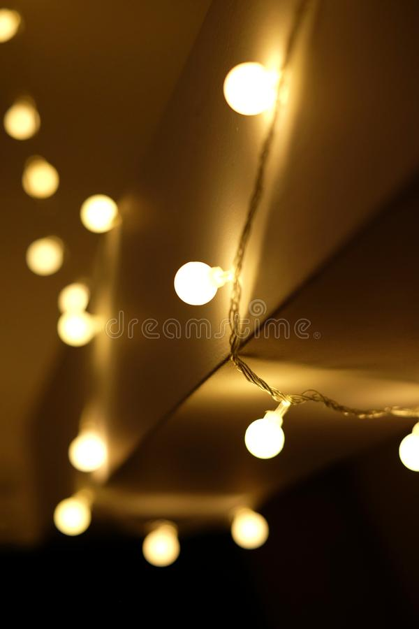 Warm Christmas garlands royalty free stock images