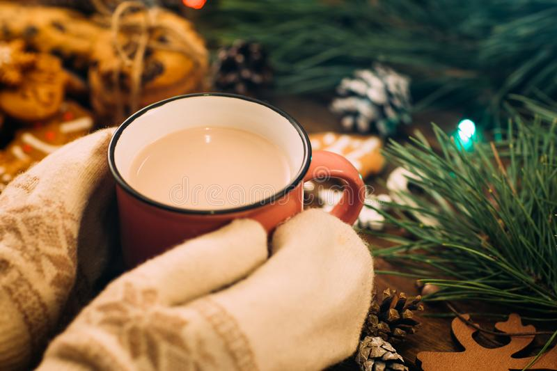 Warm Christmas holiday with latte and cookies. Close up unrecognizable woman with cup of drink in knitted gloves hands on festive background. Cozy xmas evening royalty free stock images
