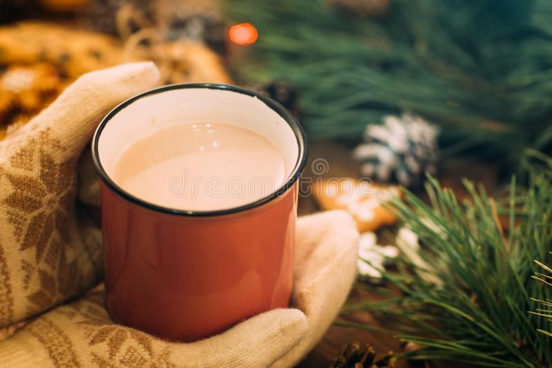 Warm Christmas holiday with latte and cookies stock images