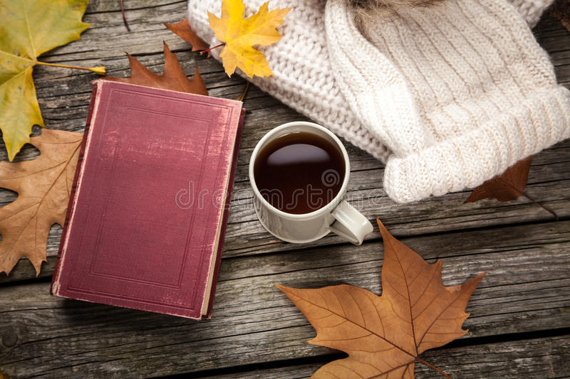 Warm clothes and a cup of tea. On autumn day royalty free stock image