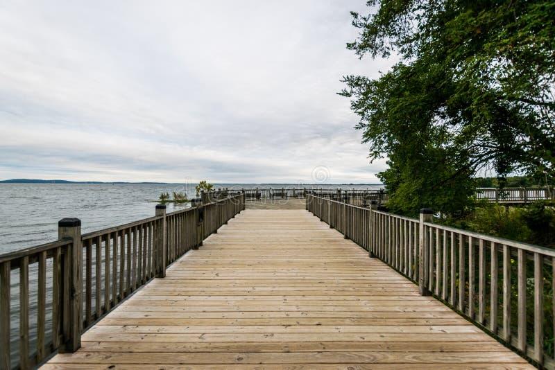 Warm Cloudy day in Havre De Grace, Maryland on the Board Walk.  stock photo