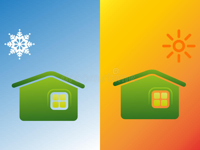 Warm and cold weather vector illustration