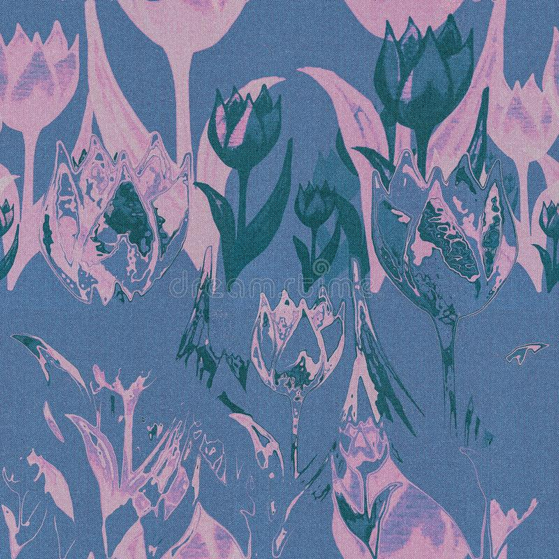 Romantic seamless fabric texture with pink and blue tulip flowers. royalty free stock photo