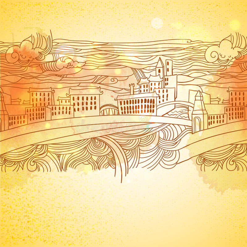 Download Warm Colors Linear Drawing City Background Stock Vector