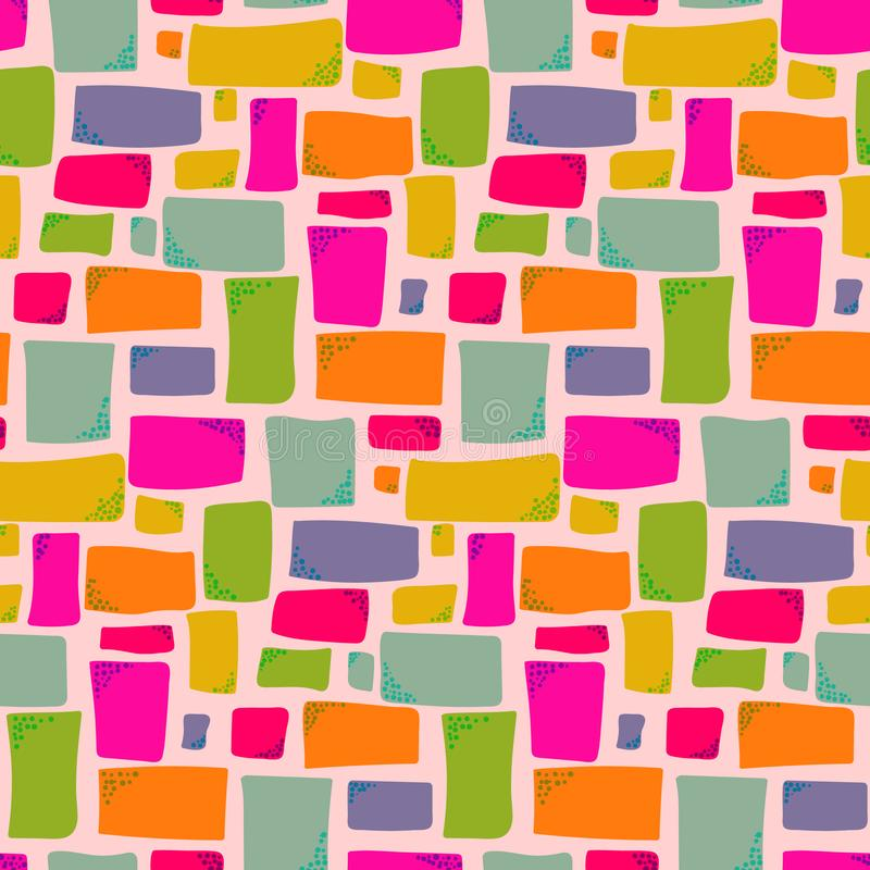 Warm colors pattern with hand drawn rectangles royalty free illustration