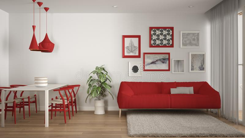 Warm And Confortable Colored White And Red Living Room With ...