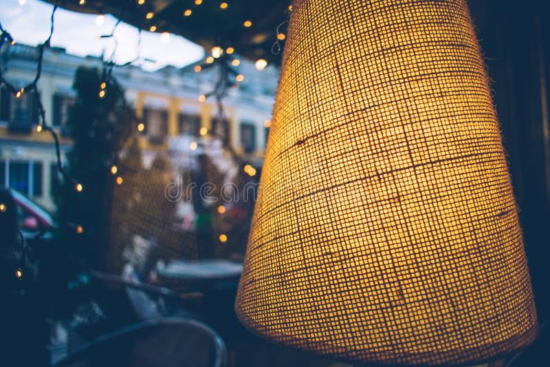 warm cozy interior in the restaurant lamp royalty free stock photography