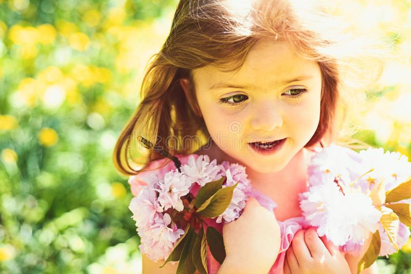 Warm day. Small child. Natural beauty. Childrens day. Springtime. weather forecast. Little girl in sunny spring. Summer stock photography