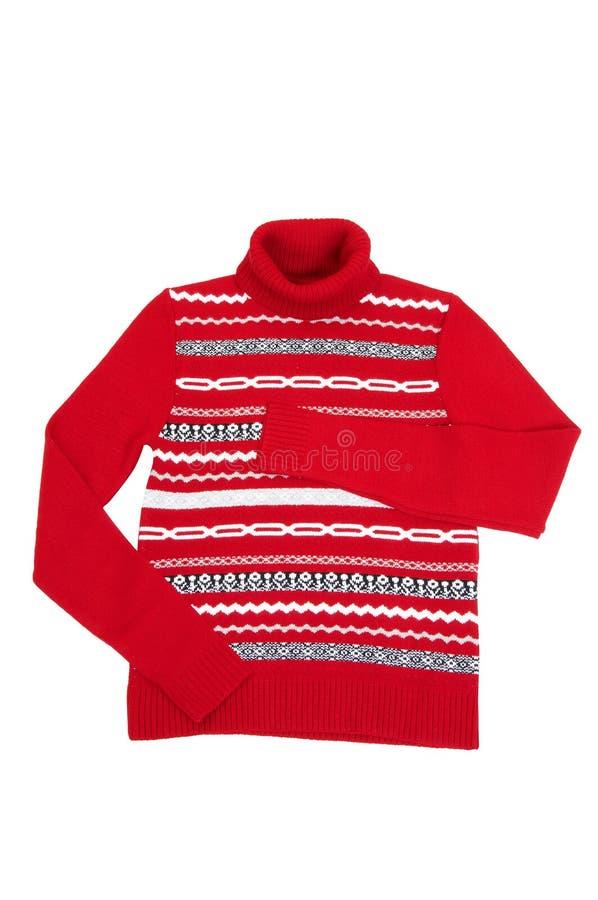 Warm, de winter, comfortabele sweater op een wit. royalty-vrije stock afbeeldingen