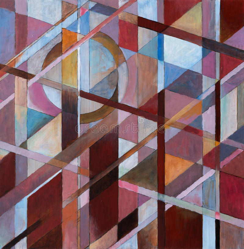Warm Diagonals - a painting. An abstract painting constructed from overlapping verticals and diagonals