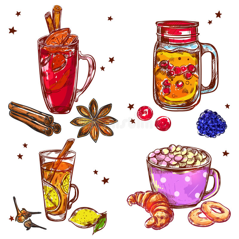 Warm Drinks Icon Set vector illustration
