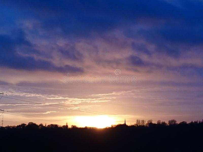Warm evening sky stock photos