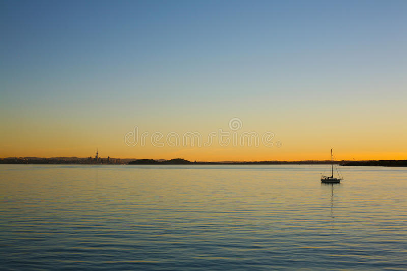 Warm evening sunset over Waitemata Harbour stock image