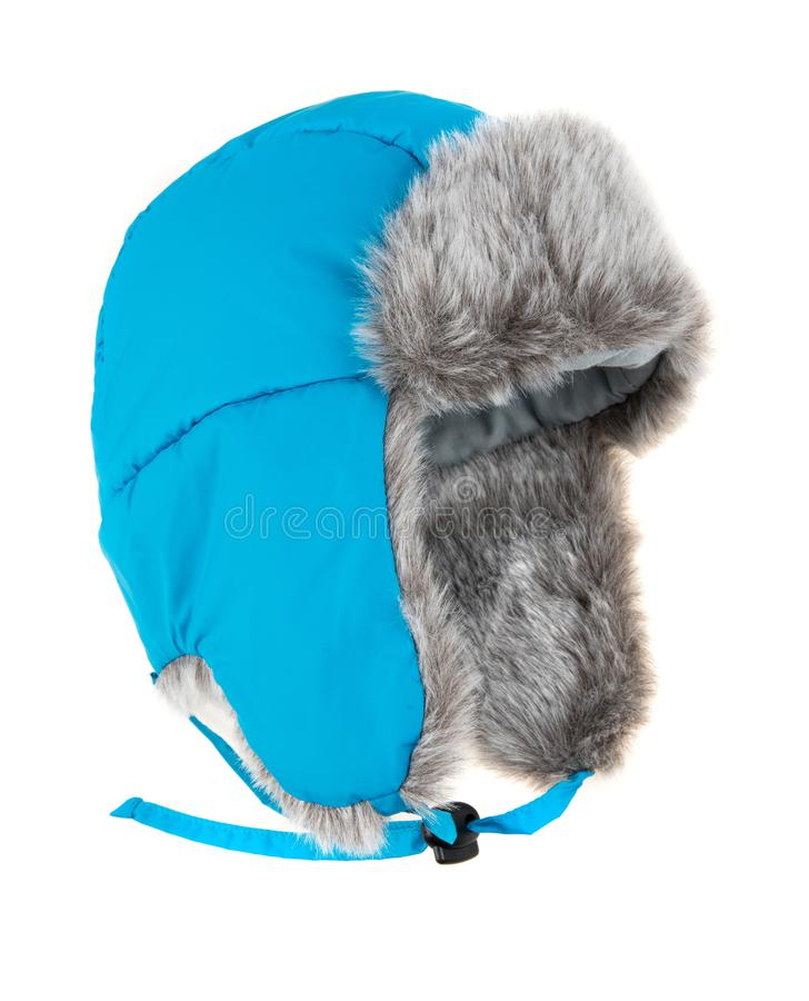 Warm fur cap. On a white background stock photography