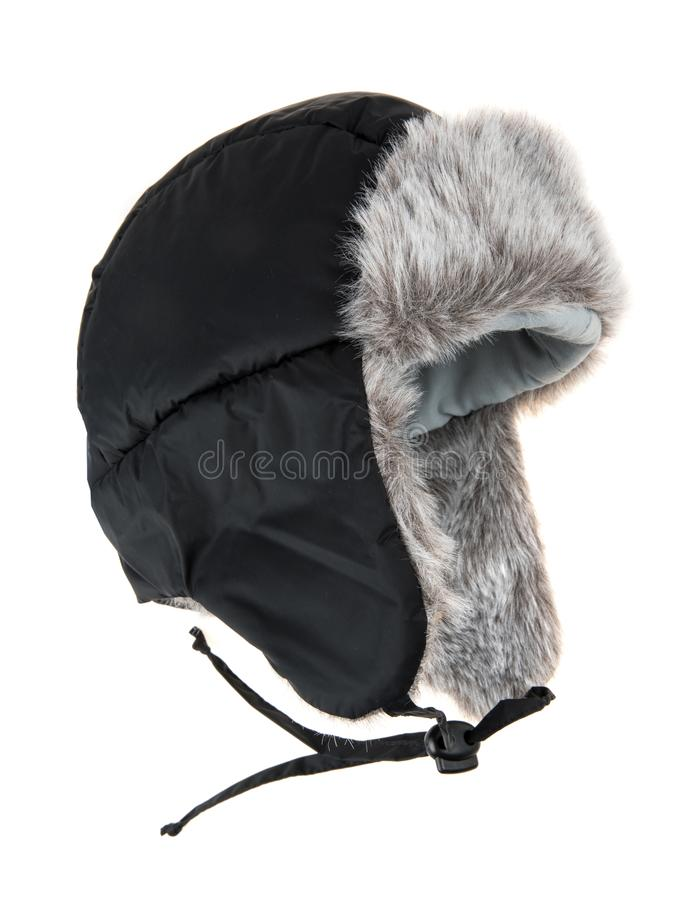 Warm fur cap. On a white background stock images