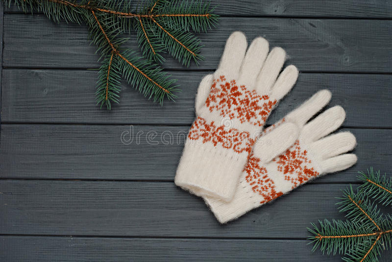 Warm gloves or mittens with fir branches on wooden background stock photography