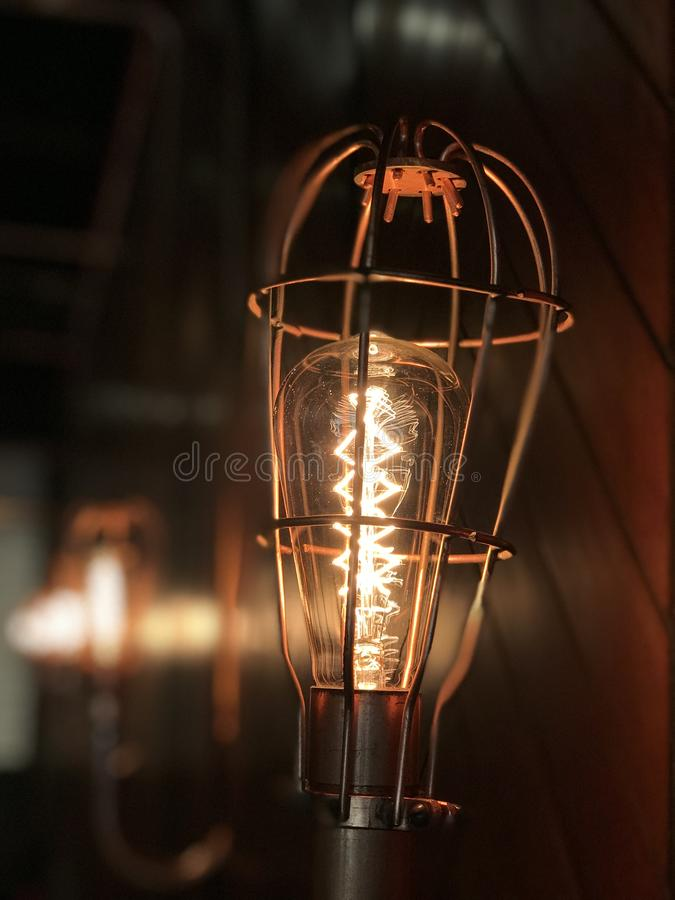 Warm glow of a Tungsten lamp stock photography