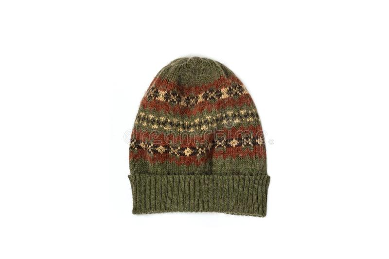 Warm green brown woolen knitted hat isolated on a white background. Winter flatlay, top view, mockup. Shopping, sale royalty free stock images
