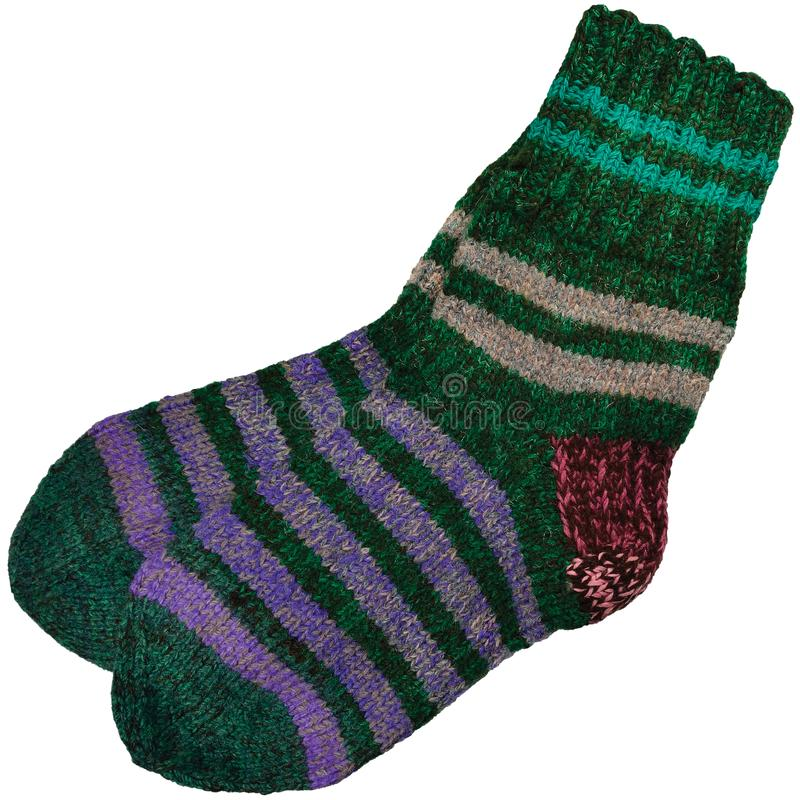 Free Warm Green Grey Violet Purple Striped Knitted Wool Camp Socks, Large Detailed Isolated Macro Closeup, Gray Burgundy Red Woolen Stock Photography - 158466932