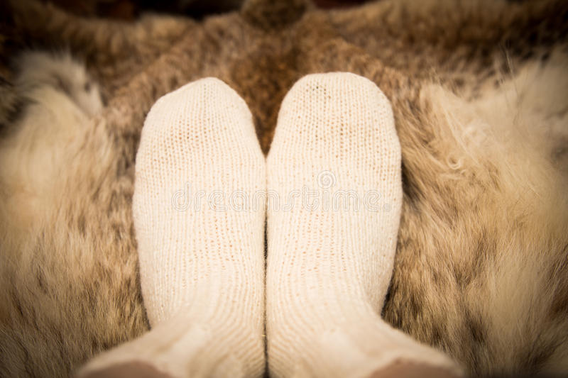 Warm hand knitted woolen socks on a fur background. stock photo