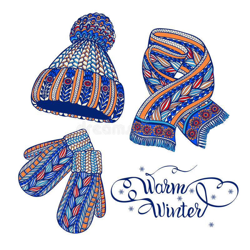 Warm hat mittens scarf color doodle. Winter warm knitted accessories pictograms of hat mittens and scarf colorful doodle style abstract vector illustration stock illustration