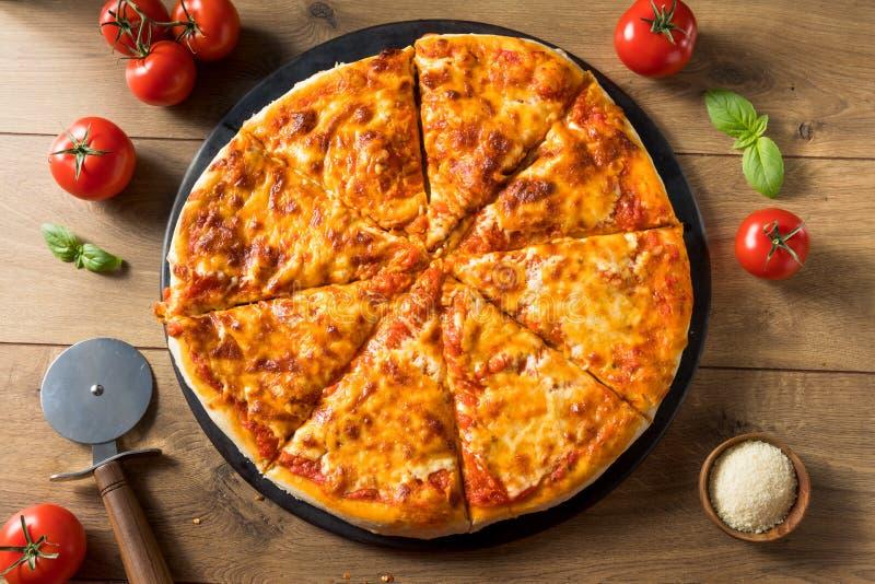 Warm Homemade Italian Cheese Pizza stock photo