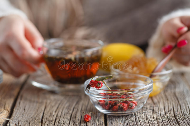 Warm honey tea with herbs. Healthcare concept royalty free stock image