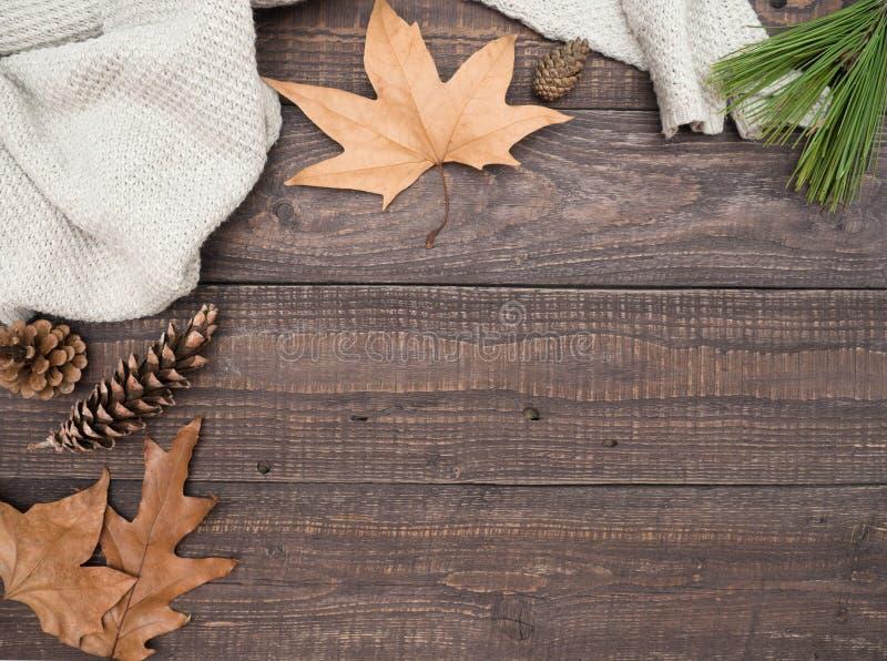 Warm jasje, de herfstbladeren en builen op een houten lijst royalty-vrije stock foto's