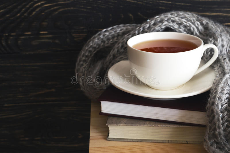 Warm knitted plaid, cup of tea and books. Warm knitted plaid, cup of hot tea and books on wooden table. Background with copy Space. Autumn and winter concept stock photo