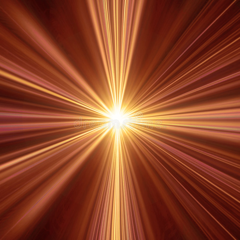 Warm Light. Abstract illustration of a light tunnel. Could be used as a spiritual concept design or a sunburst background