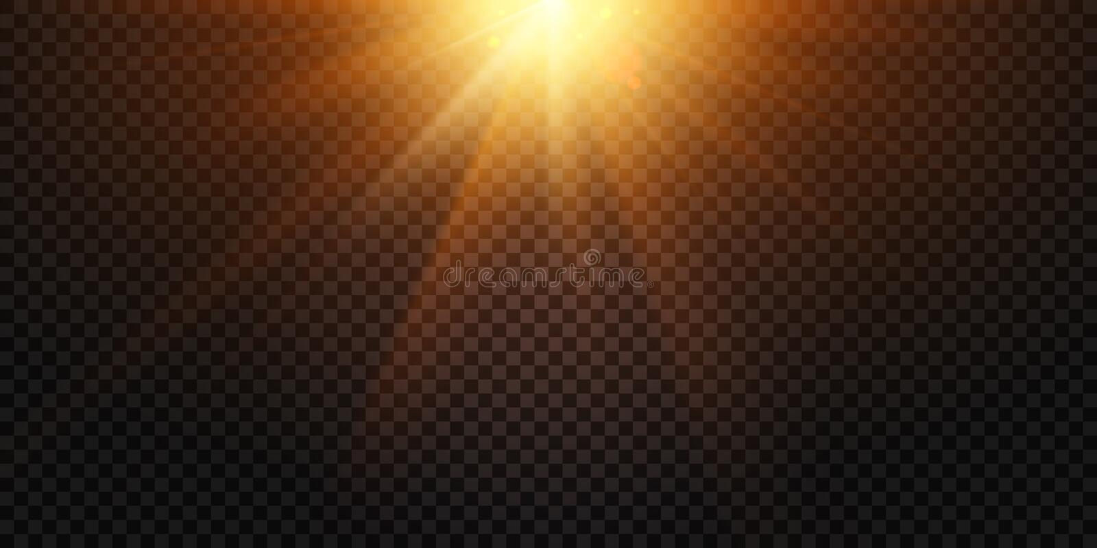 Warm light rays. Magic lights lens flare, sun flash and lamp flares isolated vector illustration royalty free illustration