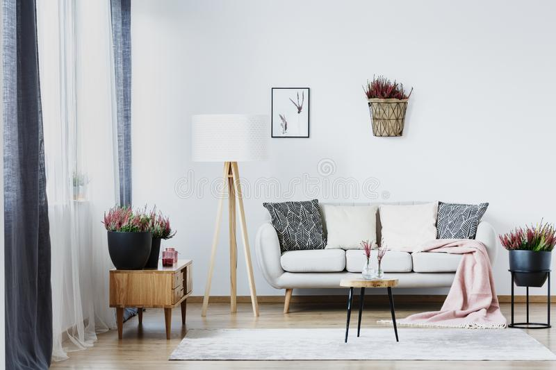 Warm living room interior royalty free stock image