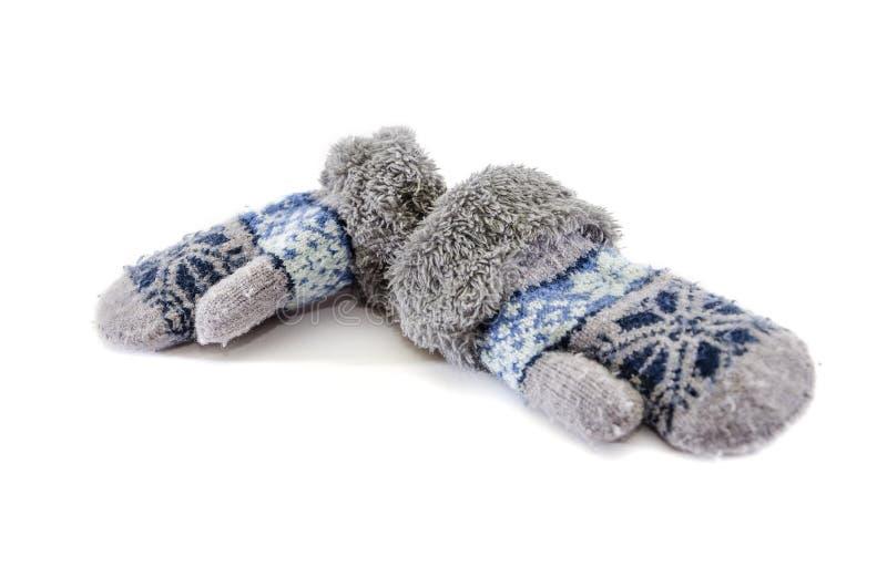 Warm, lokalisierten die Handschuhe der Kinder auf weißem Hintergrund stockbild
