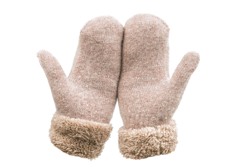 Warm mittens isolated stock image