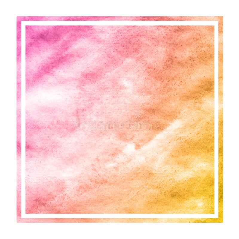 Warm orange hand drawn watercolor rectangular frame background texture with stains. Modern design element royalty free stock photo