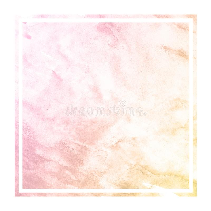Warm orange hand drawn watercolor rectangular frame background texture with stains. Modern design element royalty free stock image