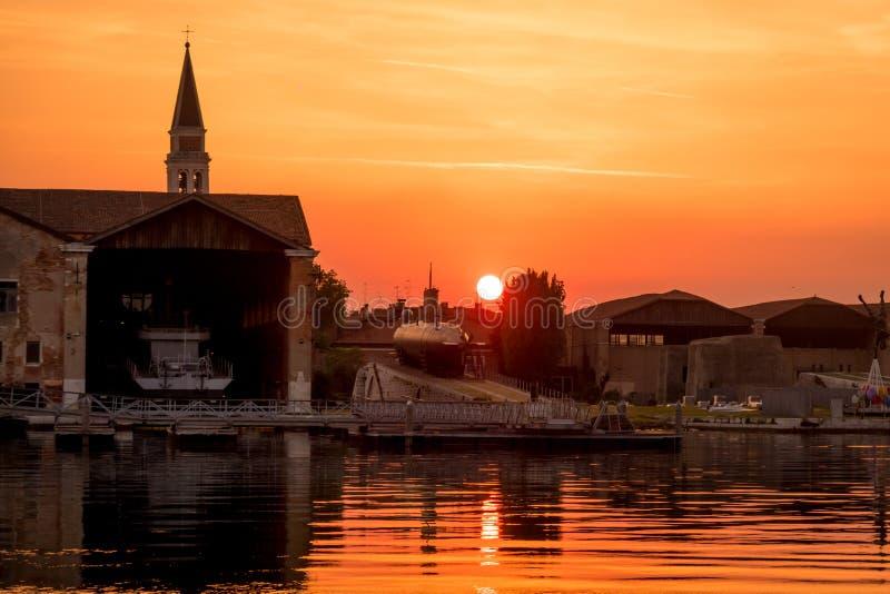 Sunset at Arsenale Venezia royalty free stock photography