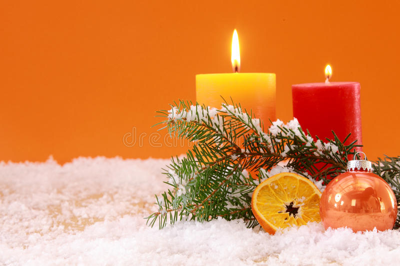 Warm orange themed Christmas background royalty free stock images
