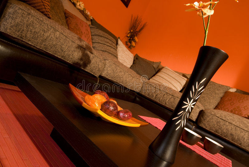 Warm oriental style living room stock photos