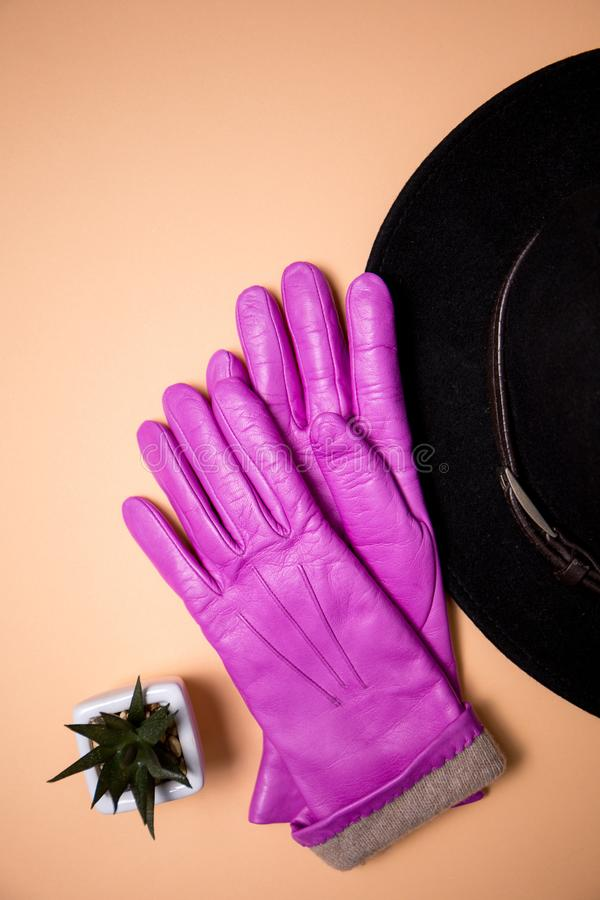 Warm pink gloves and a hat. Top view stock photo