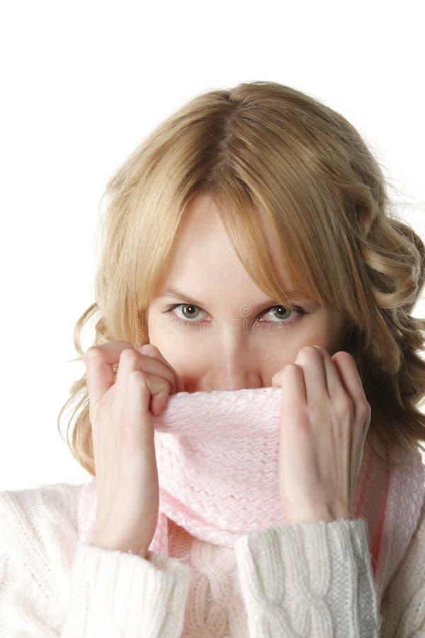 Download Warm pink neckscarf stock photo. Image of white, eyes - 7831666