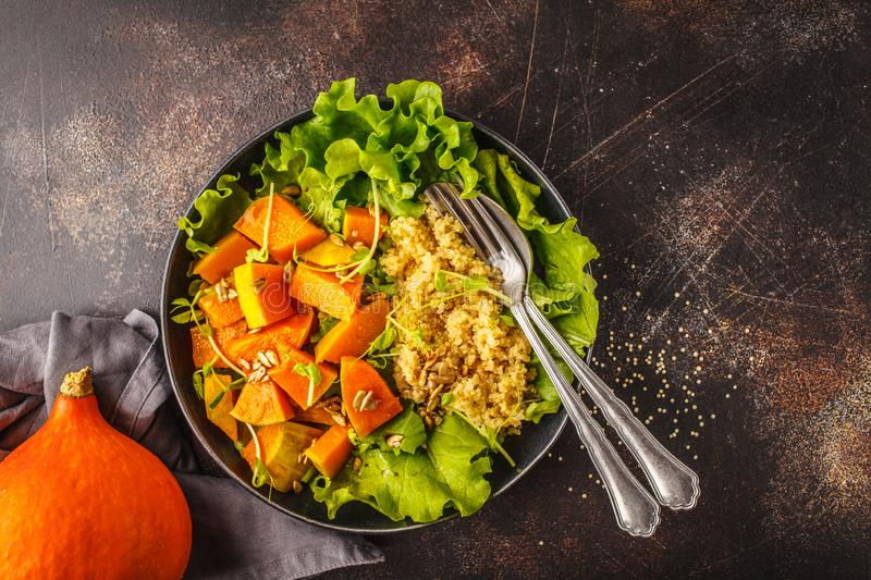 Warm quinoa and pumpkin salad in a white plate on dark background, top view. royalty free stock images