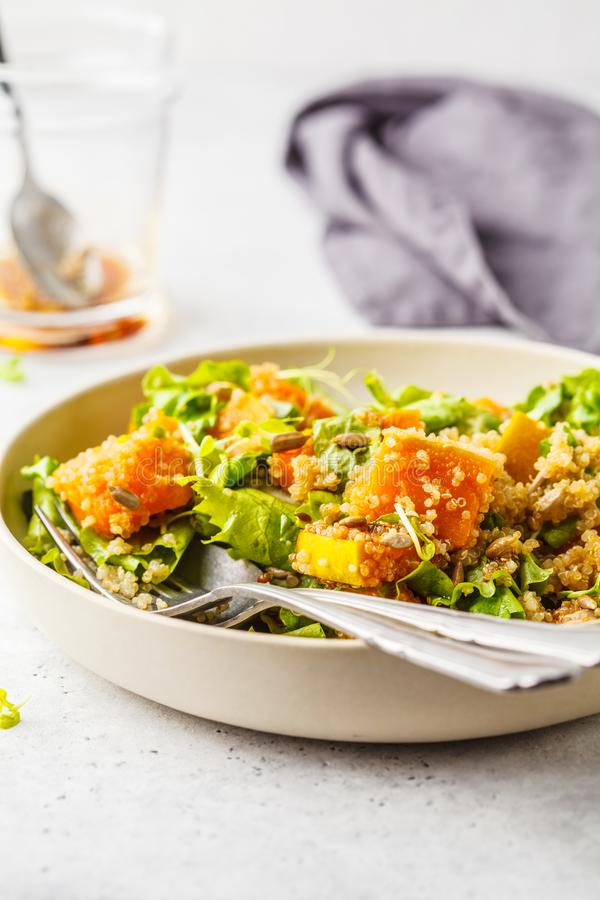 Warm quinoa and pumpkin salad in a white plate. stock photos