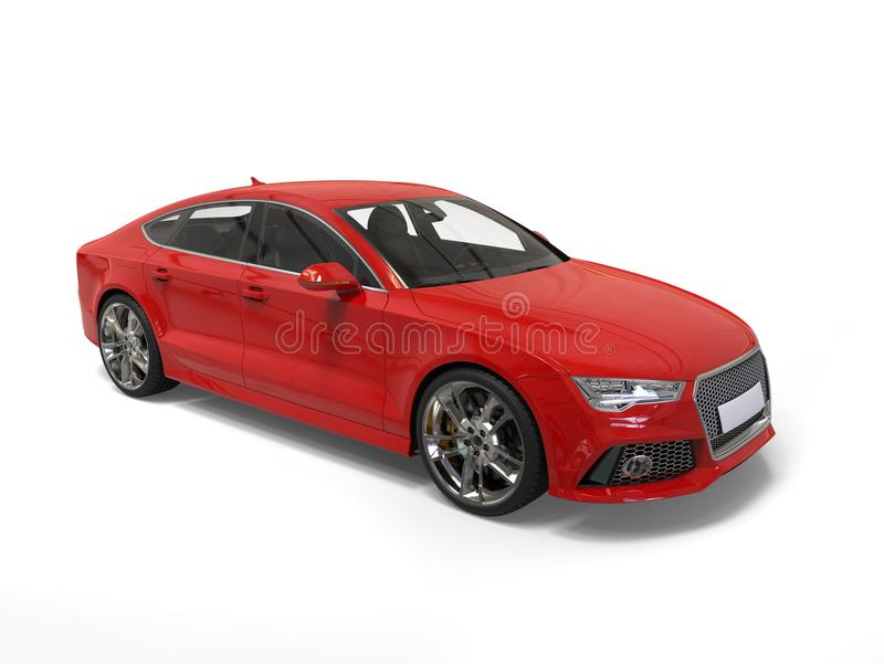 Warm red modern business car - studio high angle shot. Isolated on white background stock photo