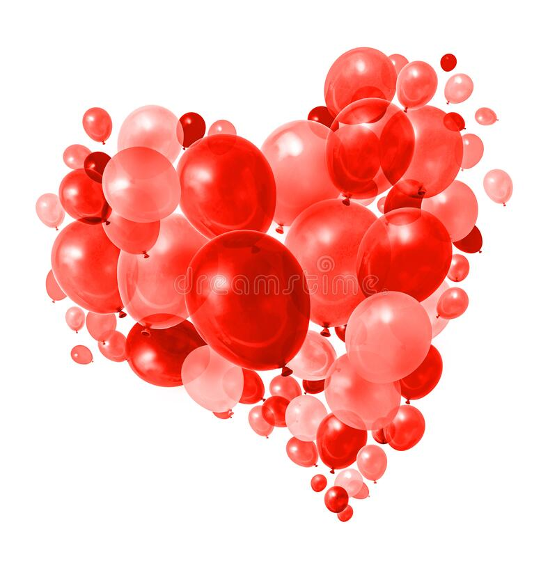 Warm red purple balloons flying royalty free stock photos
