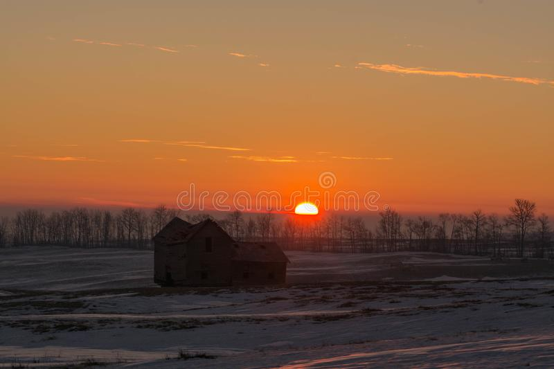 Warm Reflections on an old farmhouse royalty free stock image