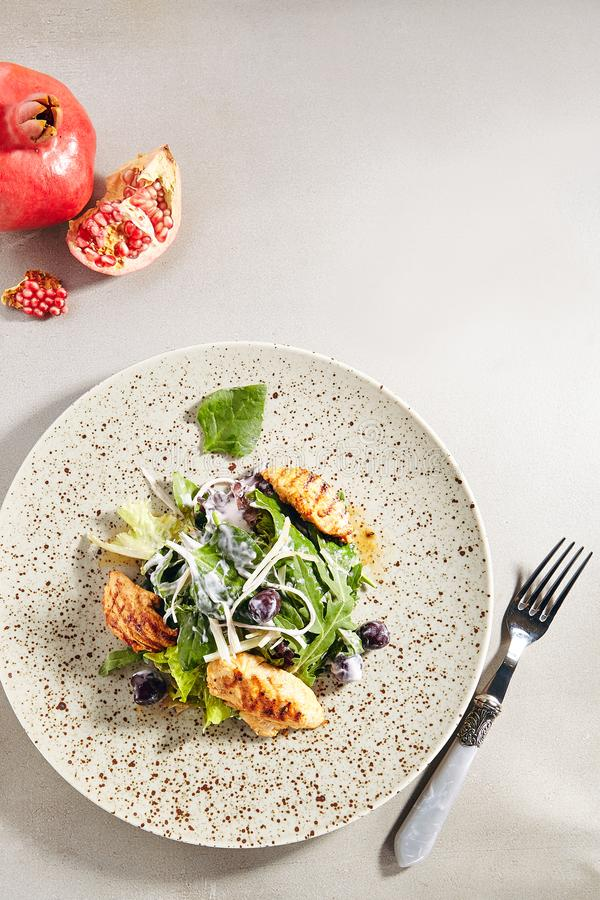 Warm salad with grilled chicken breast fillet stock image