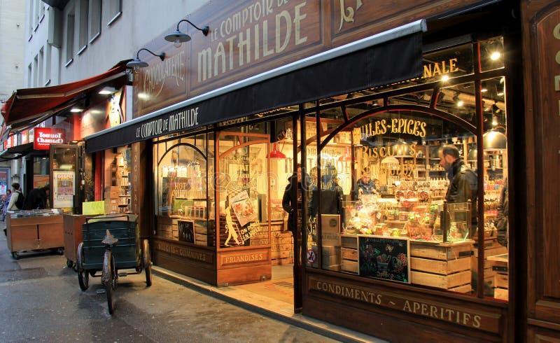 warm scene of candy storefront le comptoir de mathilde paris france 2016 editorial image. Black Bedroom Furniture Sets. Home Design Ideas